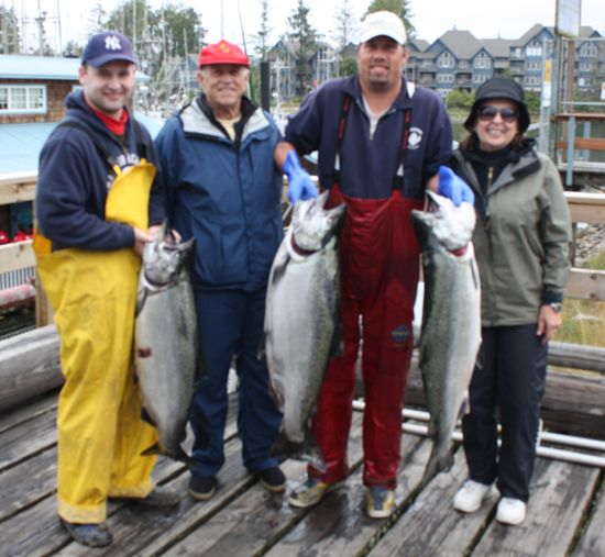 3 Tyees, 35,35, and 32 lbs caught by Gene and Nancy Hulse with grandson Cameron August 9, 2008