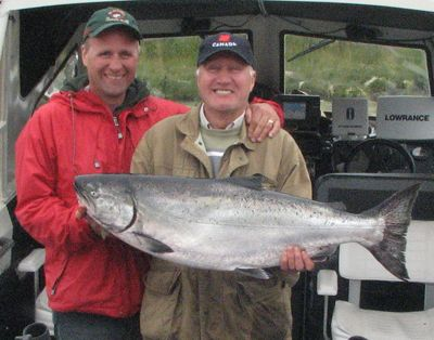 Ed and Gary Godberson with a 34 lb Tyee, July 28, 2008