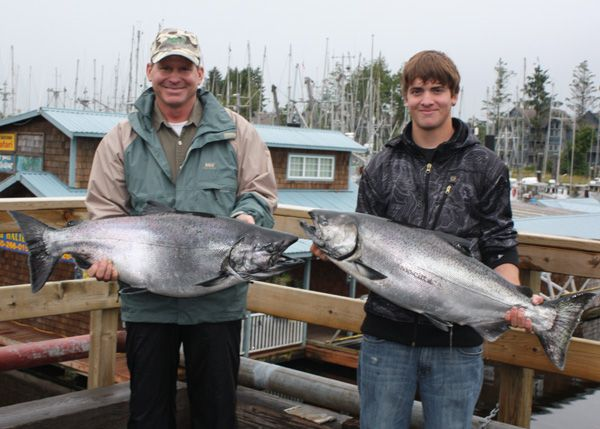 Steve and Ross Rusconi with 25 and 31 lb King Salmon August 23, 2008